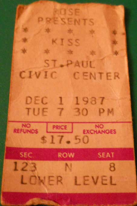 Ticket from St Paul, MN, USA 01 December 1987 show