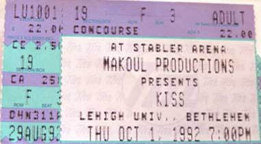 Ticket from Bethlehem (Allentown), PA, USA 01 October 1992 show