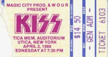 Ticket from Utica, NY, USA 02 April 1986 show
