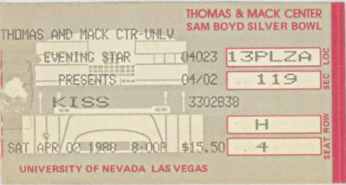 Ticket from Las Vegas, NV, USA 02 April 1988 show