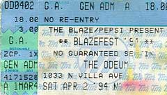 Ticket from Villa Park (Chicago), IL, USA 02 April1994 show
