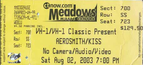 Ticket from Hartford, CT, USA 02 August 2003 show
