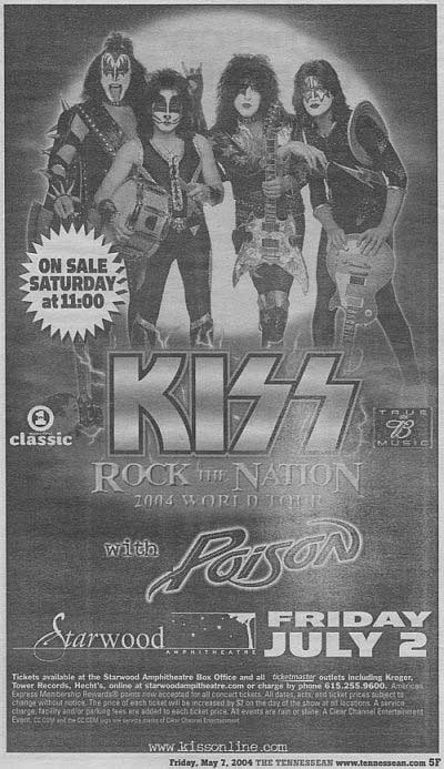 Advert from Nashville, TN, USA 02 July 2004 show