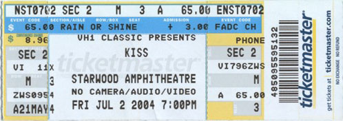 Ticket from Nashville, TN, USA 02 July 2004 show