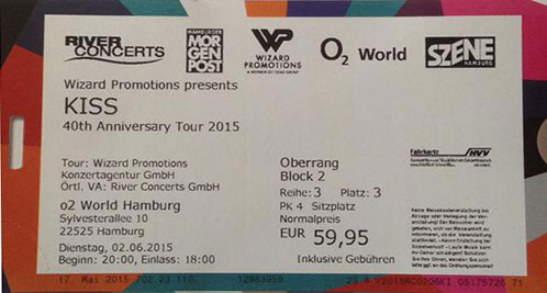 Ticket from Hamburg, Germany 02 June 2015 show