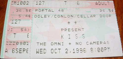 Ticket from Atlanta, GA, USA 02 October 1996 show