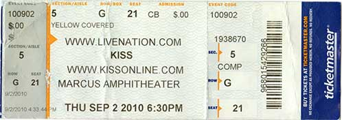 Ticket from Milwaukee, WI, USA 02 September 2010 show