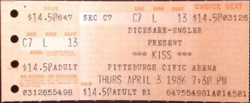 Ticket from Pittsburgh, PA, USA 12 April 1986 show (showing original date of 03 April 1986 before reschedule)