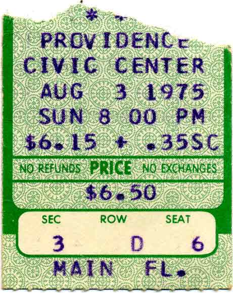 Ticket from Providence, RI, USA 03 August 1975 show