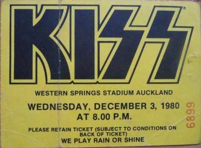 Ticket from Auckland, New Zealand 03 December 1980 show