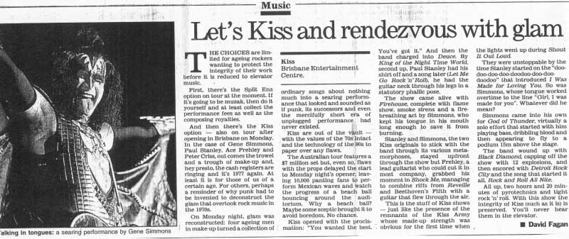 Newspaper review from Brisbane, Australia 03 February 1997 show