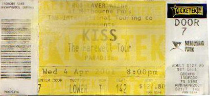 Ticket from Melbourne, 04 April 2001 show