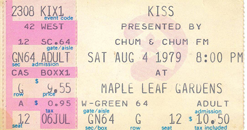 Ticket from Toronto, Canada 04 August 1979 show