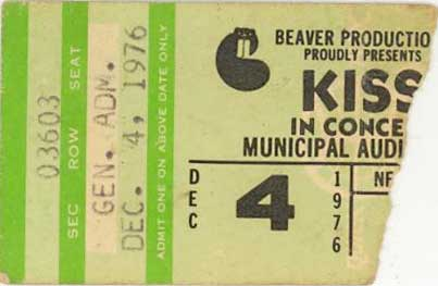 Ticket from New Orleans, LA, USA 04 December 1976 show