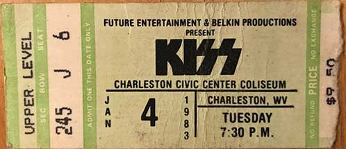 Ticket from Charleston, WV, USA 04 January 1983 show