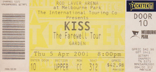 Ticket from Melbourne, 05 April 2001 show