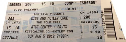 Ticket from San Antonio, TX, USA 05 August 2012 show