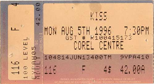 Ticket from 05 August 1996 show Ottawa, Canada