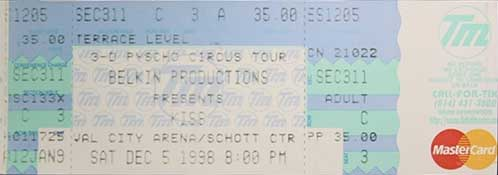 Ticket from Columbus, OH, USA 05 December 1998 show