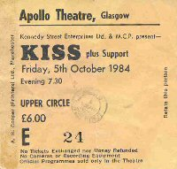 Ticket from Glasgow, Scotland 05 October 1984 show