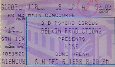 Ticket from Cleveland, OH, USA 06 December 1998 show