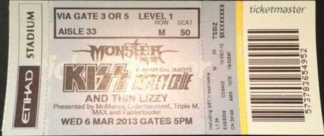 Ticket from 06 March 2013 show Melbourne, Australia