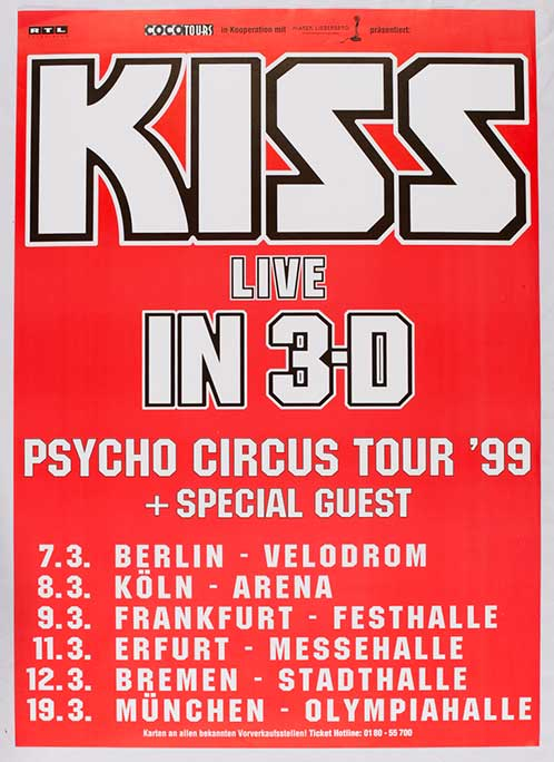 Poster from Bremen, Germany 12 March 1999 show