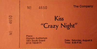 Ticket from Los Angeles, CA, USA 08 August 1987 show