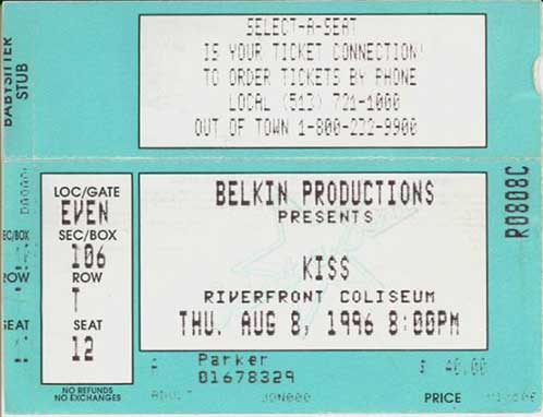 Ticket from 08 August 1996 show Cincinnati, OH, USA