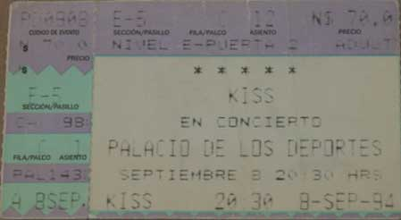 Ticket from Mexico City, Mexico 08 September 1994 show