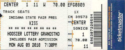 Ticket from Indianapolis, IN, USA 09 August 2010 show