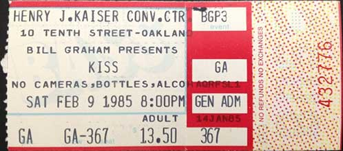 Ticket from Oakland, CA, USA 09 February 1985 show