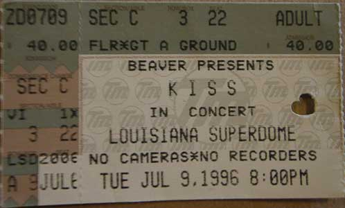 Ticket from 09 July 1996 show New Orleans, LA, USA