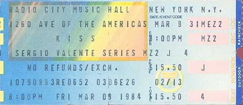 Ticket from New York, NY, USA 09 March 1984 show