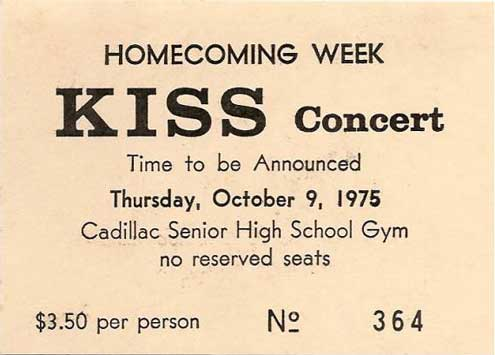 Ticket from Cadillac, MI, USA 09 October 1975 show
