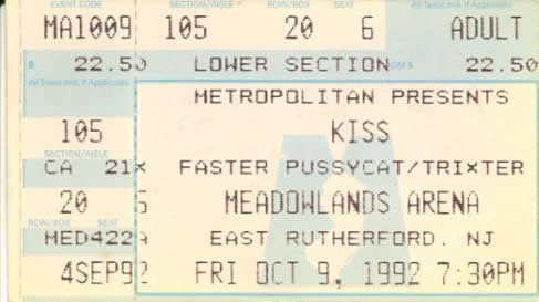 Ticket from East Rutherford 09 October 1992 show