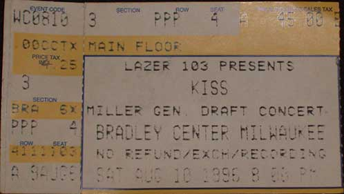 Ticket from 10 August 1996 show Milwaukee, WI, USA