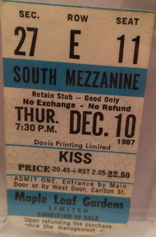 Ticket from Toronto, Canada 10 December 1987 show
