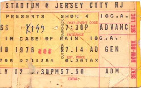 Ticket from Jersey City, NJ, USA 10 July 1976 show