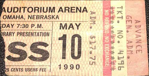 Ticket from Omaha, NB, USA 10 May 1990 show