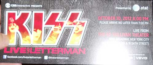 Ticket from New York, NY, USA 10 October 2012 show