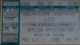 Ticket from Irvine (Los Angeles), CA, USA 11 August 2000 show