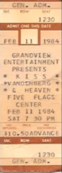 Ticket from Dubuque, IA, USA 11 February 1984 show