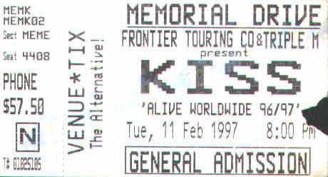 Ticket from Adelaide, 11 February 1997 show