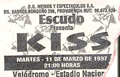 Advert from Santiage, Chile 11 March 1997 show
