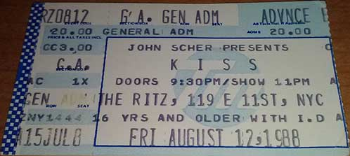 Ticket from New York, NY, USA 12 August 1988 show