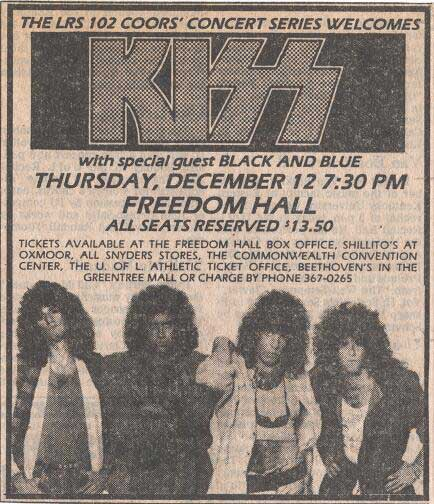 Advert from Louisville, KY, USA 12 December 1985 show