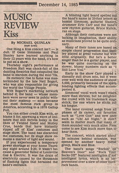 Review from Louisville, KY, USA 12 December 1985 show