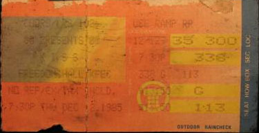 Ticket from Louisville, KY, USA 12 December 1985 show