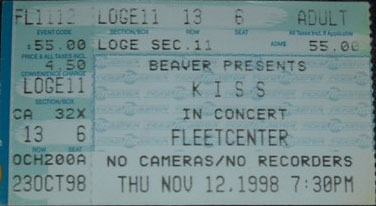 Ticket from Boston, MA, USA 12 November 1998 show